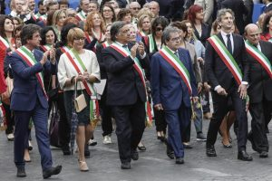 Some Italian Mayors walk during the military parade for the Italian Republic Day in Rome, Italy, 02 June 2016. ANSA/GIUSEPPE LAMI